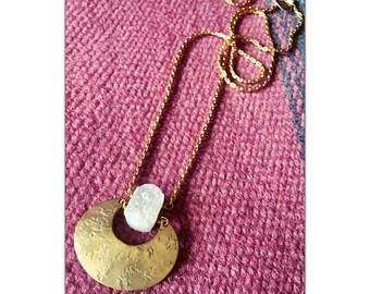 Druzy Quartz Crystal & Brass Crescent Moon Statement Necklace - Druzy Quartz Brass Turquoise Long pendant necklace - geometric necklace