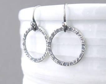 Rustic Silver Hoop Earrings Small Silver Earrings Dangle Earrings Simple Everyday Earrings Handmade Rustic Jewelry - Rustic Hoops