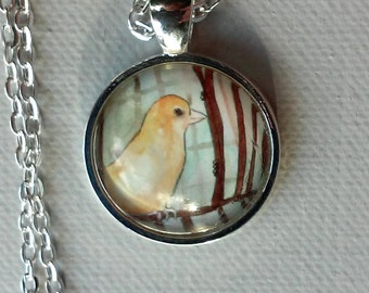 Yellow Canary - Unique Art Pendant - Bird Jewelry