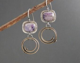 Purple Tiffany stone earrings, statement earrings, sterling silver, mixed metal, artisan jewelry