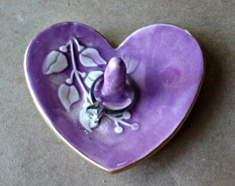 Ceramic Heart Ring Holder Purple edged in gold