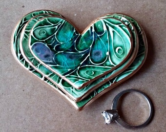Ceramic Heart Nesting Ring Dishes peacock green edged in gold Set of three