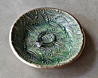 Ceramic Ring Bowl Ring Holder Trinket bowl Moss green Gold edged
