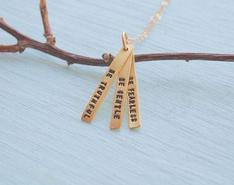 "14kt Gold Vermeil Quote Necklace, ""Be Truthful, Be Gentle, Be Fearless"" - Gandhi eco-friendly charm by Chocolate and Steel"
