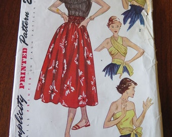 Vintage 1940s Simplicity 3137 Misses Full Skirt Off Shoulder Blouse and Wrap Top with Variations size 16 B 34 UNCUT