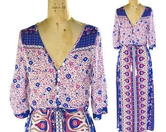 70s Bohemian Maxi Dress Vintage Floral & Paisley Floor Length Hippie Boho Indian Rayon Floor Length Dress Lightweight Sheer Festival Dress S