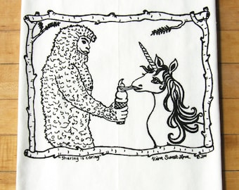 Sasquatch & Unicorn Hand Printed Dish Towel, Soft Cotton Flour Sack Tea Towel, Black Ink, Bigfoot lover, Funny Gift,Hostess Gift
