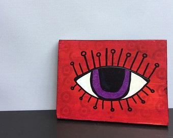 Red Evil Eye Art - Mixed Media Painting