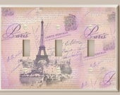 Triple Toggle Light Switch Plate - Lavender, Pink and Tan Paris Eiffel Tower with Love Letters