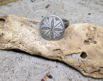 Old Etched Flat Top Circular Silver African Ring