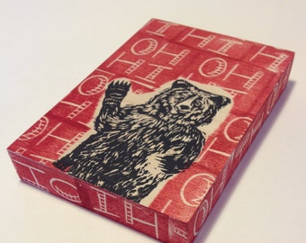 Oh Hi Waving Bear - one of a kind linocut on wood