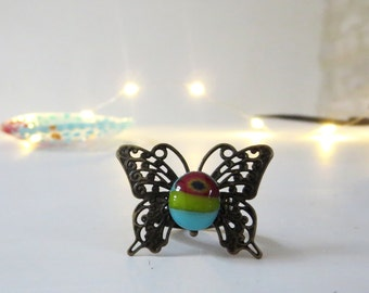 Boho Butterfly Ring, Fused Glass Ring, Filigree Ring, Adjustable Ring, Cocktail Ring in Blue, Red and Green