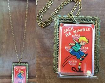 Vintage toy necklace miniature pinball game prize Jack Be Nimble