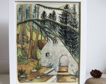 Art - Watercolor Painting - Original Watercolor Painting - Original Art - Painting - Oregon Art - Portland Art - Forest Park Witch House
