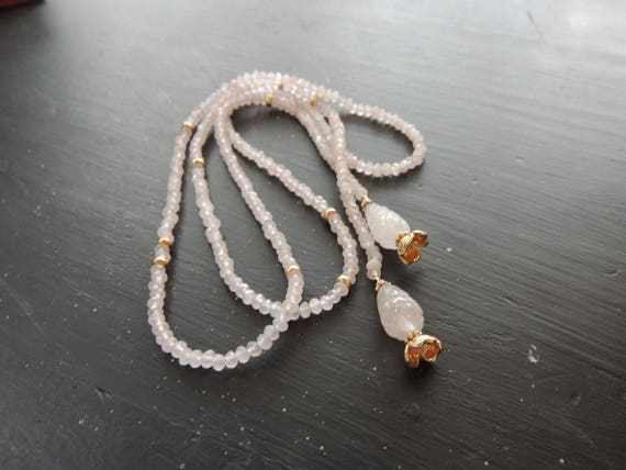Pink  Rose Quartz and Gold Lariat Necklace 36 inches