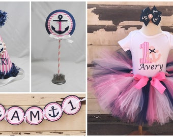 Supreme Girl Nautical 1st Birthday Party Package- Cake Smash Set & Tutu Outfit- Personalized