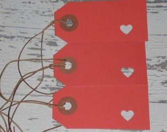 You Choose Quantity - Valentine's February 14 LOVE RED Hearts Card Stock Primitive Hang Tags - Tie Ons - Gift Tag - Scrapbooking - Ornaments