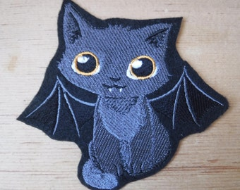 Tricky KItty Embroidered Iron On Patch, Spooky Kitty, Patches, Bat Costume, Glowing Eyes, Embroidered Applique, Gothic Patch, EGL Lolita