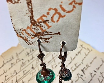 Asymmetric Vintage Teal Glass Bead  Earrings FREE Shipping