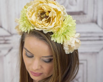 Green and Ivory, Floral Headdress, Flower Headband, Costume Headdress, Bridal Flower Crown, Woodland Headpiece, Elven, Renaissance