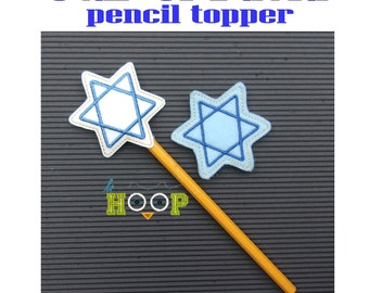 Star of David Pencil Topper Machine Applique Embroidery design 4x4 5x7 ITH In The Hoop Hanukkah Chanukah