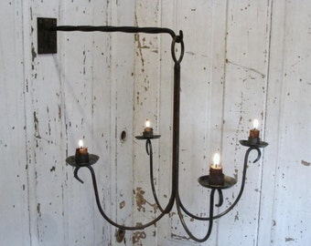 Chandelier Candle Holder Wall Mount Candleholder Blacksmith Forged Iron