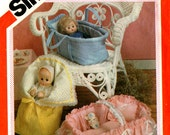 """1983 Uncut BABY DOLL CARRIERS Pattern Simplicity 6056 Vintage Sewing Covered Basket Carrier Bunting For Dolls Up to 18"""""""