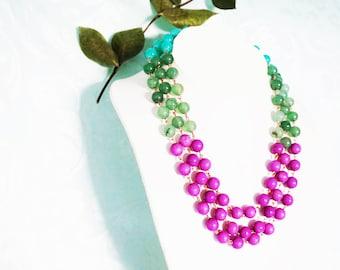 Statement Necklace Multi Strand Necklace Gemstone Necklace Lilac Necklace Green Necklace Emerald Necklace Aventurine Necklace Bridesmaid Set