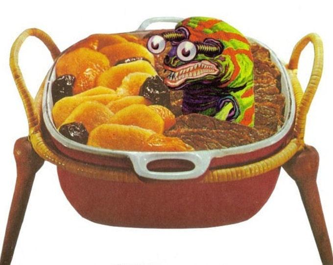 Cute Monster Artwork, Fun Food Art Collage