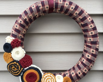 Primitive Wreath - Star Wreath - Felt Flower Wreath - Country Wreath - Primitive Star Wreath -Fall Wreath -Spring Wreath -Rag Wreath -Wreath