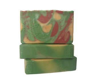 Jasmine Scented Handmade Olive Oil Soap - Artisan Decorative - Phthalate Free Fragrance - Vegan - Cruelty Free - Colorful - Wrapped