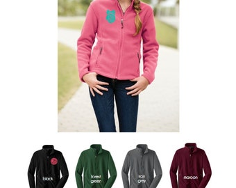 Girls fleece jacket - monogram jacket - full zip fleece jacket - embroidered jacket - girls jacket - kids jacket - embroidered fleece jacket
