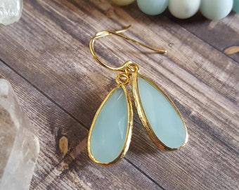 Teardrop Drop Earrings, Mint Teardrop Earrings, Enlongated Teardrop Earrings, Wedding Jewelry, Bridesmaid Jewelry, Maid of honor jewelry