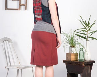 Uptown Vest SMALL-MEDIUM red, black, reversible, tartan, plaid, tweed, graduated hem, layering piece, one of a kind, upcycled, rework