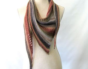Merino Mohair Skinny Triangle Shawl Style Scarf Neckwrap with Beads  -  Tan, Brown, Gray and Sage Mochi
