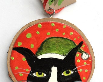 Silent Mylo Tuxedo Cat Ornament - Red and Green Cat Ornament - Cat Christmas Ornament -  OOAK Hand Painted Cat Ornament - Gift for Cat Lover