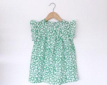 girls green floral cotton dress