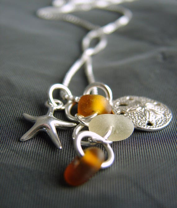 Ocean sea glass necklace in amber