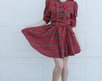 Vintage red PLAID Dress. Red BOW Dress. Vintage Plaid Dress. Upcycled dress. Red Plaid BOW Dress.  Retro Plaid dress. Punk Dress. Punk Rock