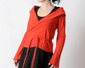 Red Wrap Shrug, Long sleeved wrap sweater, bright red Jersey, Womens clothing, Womens sweaters, Red jersey wrap, MALAM