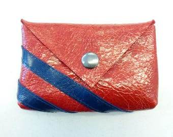 """Small red leather coin purse, Red varnished leather coin pouch with blue stripes, Red and blue leather purse, MALAM, 10. x 7 cm (4x2.7"""")"""
