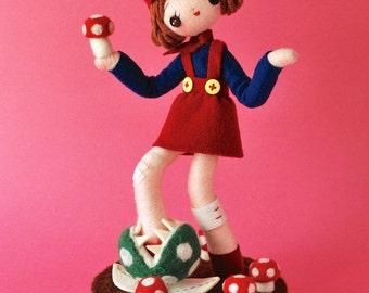 Print: Marico - Doll Retro Wall decor Mario Felt sculpture Photo pink Toy Video game Mushroom