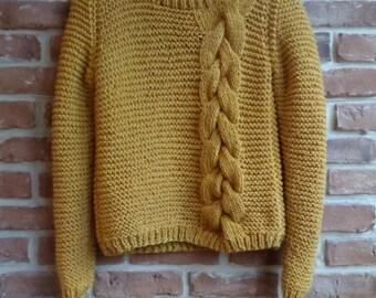 Kathmandu Sweater, PDF knitting pattern - Instant Download - Sweater knitting pattern, garter stitch sweater, cable knitting sweater