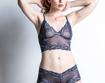 Sheer Lace Bra - See Through Blue 'Sassafras' Bra - Lingerie - Custom Fit Made To Order Bralette