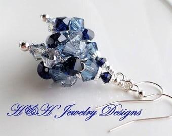 Navy Blue Earrings, Dark Blue Crystal Earrings, Swarovski Indigo Blue Silver Earrings, Wedding Jewelry, Bridal Earrings, Montana Blue Beads