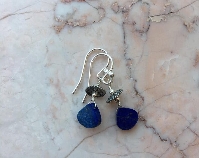 Lapis Lazuli and Bali Silver accent Earrings
