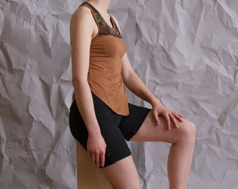 Camo and brown color-block tank, racerback cut with low-high hem. Lightweight and easy to wear, made-to-order, any size. Summer tank top.
