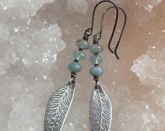 Sterling Silver and Aquamarine Leaf Earrings