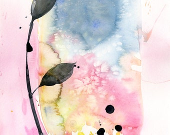 """Abstract leaf Watercolor Painting, Minimalist floral art, plant, nature, blooms, """"Organic Abstract 112"""" by Kathy Morton Stanion EBSQ"""