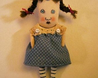 little art doll , sandy mastroni, 1930 style, whimsical wall art doll , calico dress,shelf art,